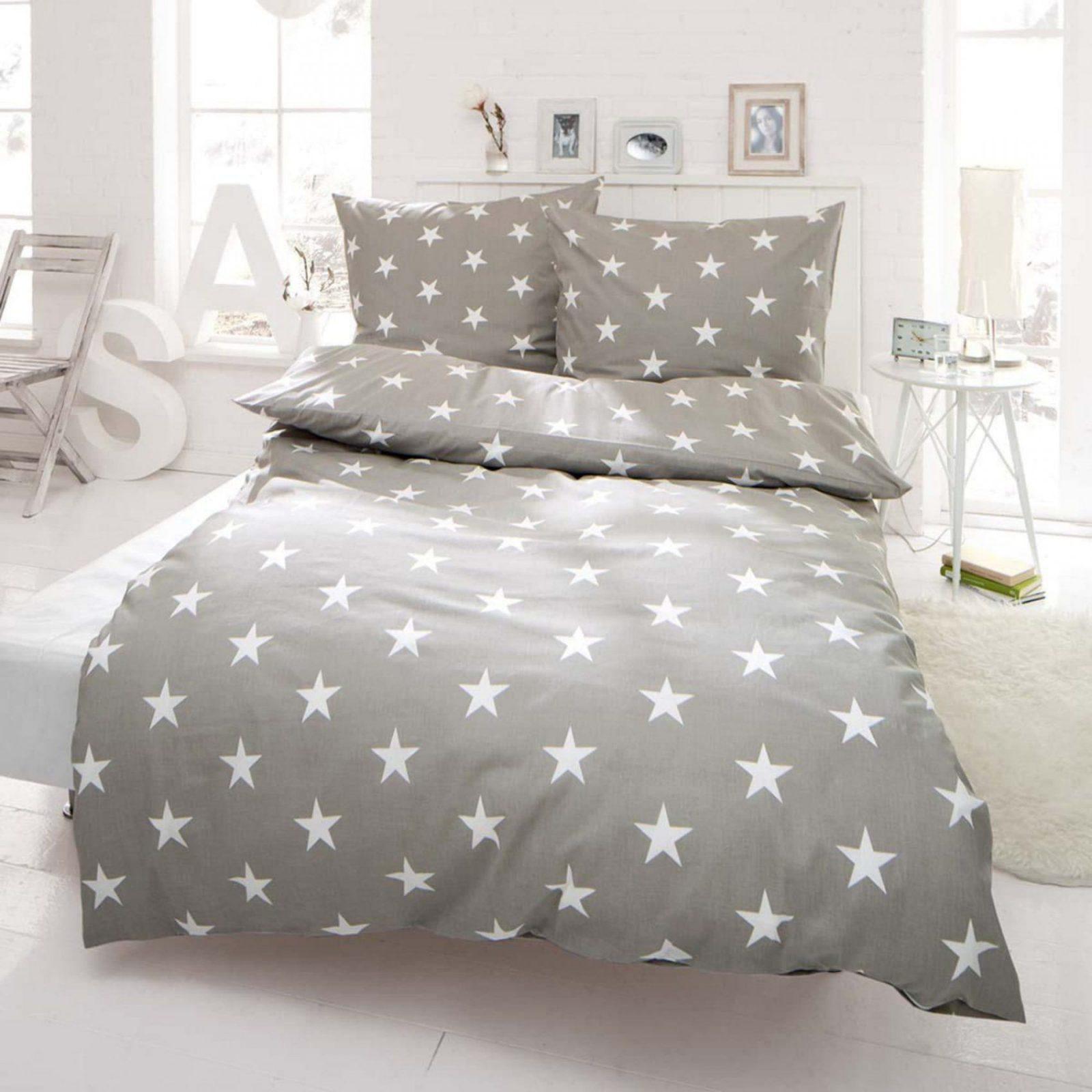 Bettwäsche Sterne Mit Reißverschluss Baumwollrenforcé von Bettwäsche Sterne Grau 155X220 Photo