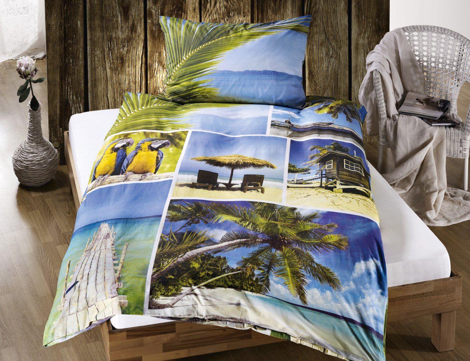Bettwäsche Strand Palmen & Meer Günstig ⋆ Lehner Versand von Bettwäsche Palmen Motiv Bild