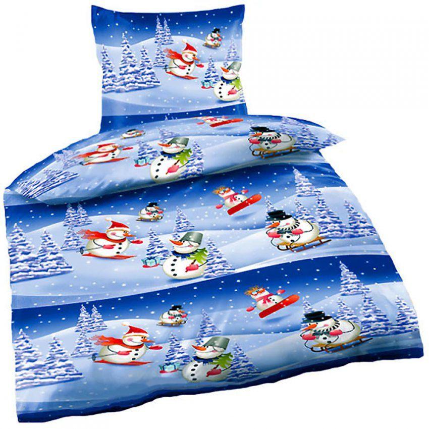 Bettwäsche Weihnachten Biber Schneemann In Winterlandschaft 135 X von Biber Bettwäsche Weihnachtsmotiv Bild