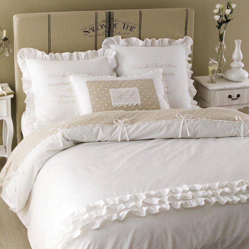 Bettwäschegarnitur Aus Baumwolle 220 X 240 Cm Weiß  Maisons Du Monde von Bettwäsche Weiß Rüschen Bild