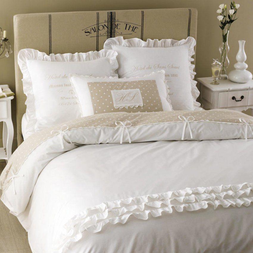 Bettwäschegarnitur Aus Baumwolle 240 X 260 Cm Weiß  Maisons Du Monde von Rüschen Bettwäsche Weiß Photo