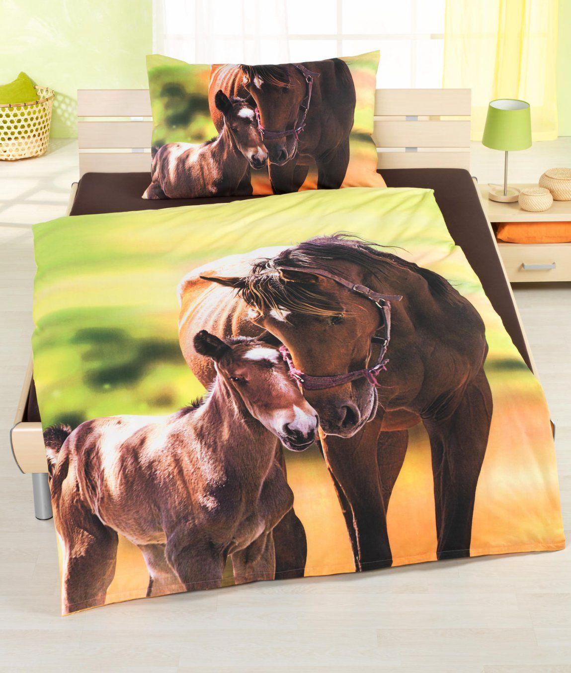 Bettwäschegarnitur Horse Baumwolle Renforcé Kaufen  Angela von Pferde Bettwäsche Baumwolle Photo