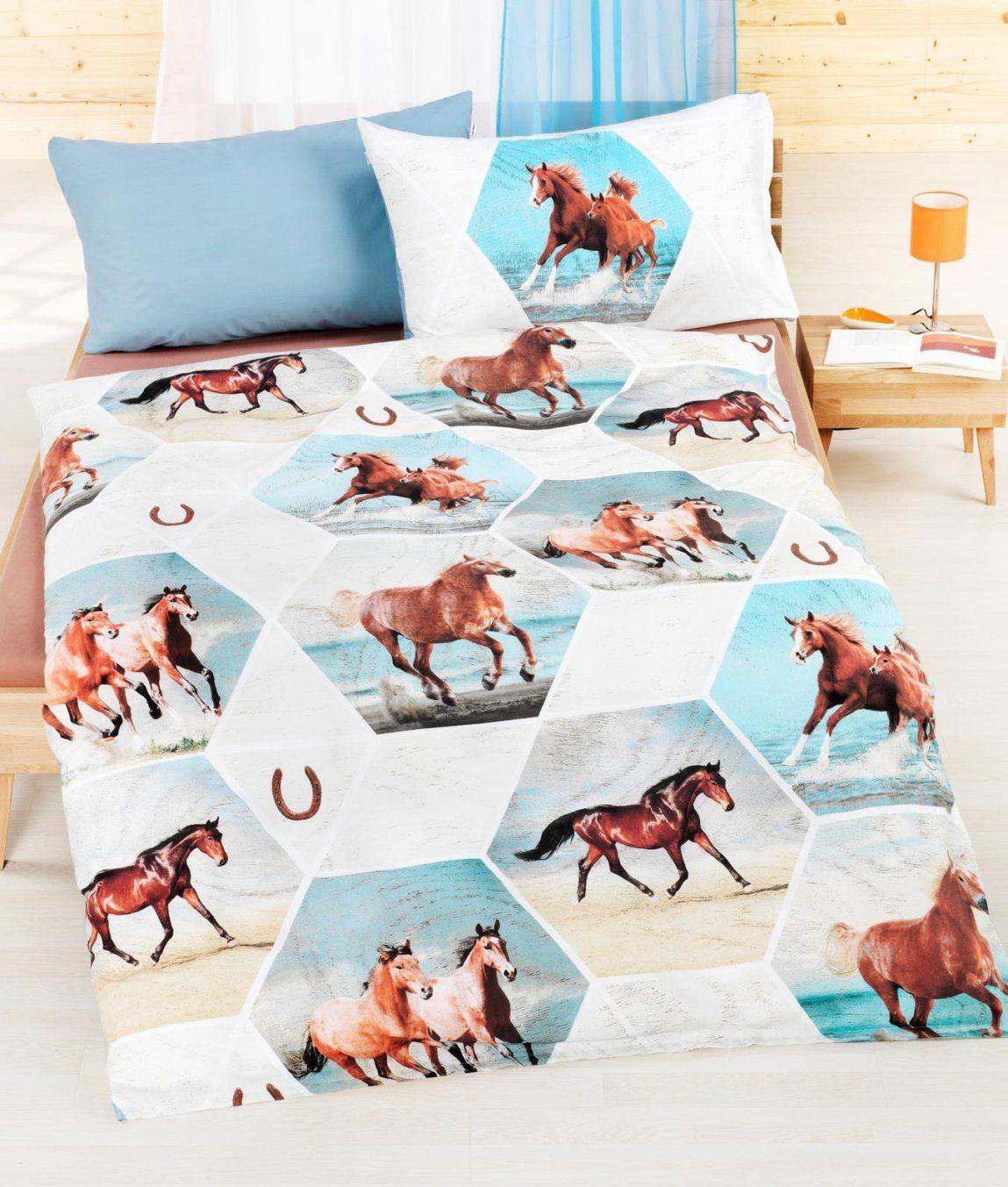 Bettwäschegarnitur Lucky Baumwolle Renforcé Kaufen  Angela von Kinderbettwäsche Mit Pferden Photo