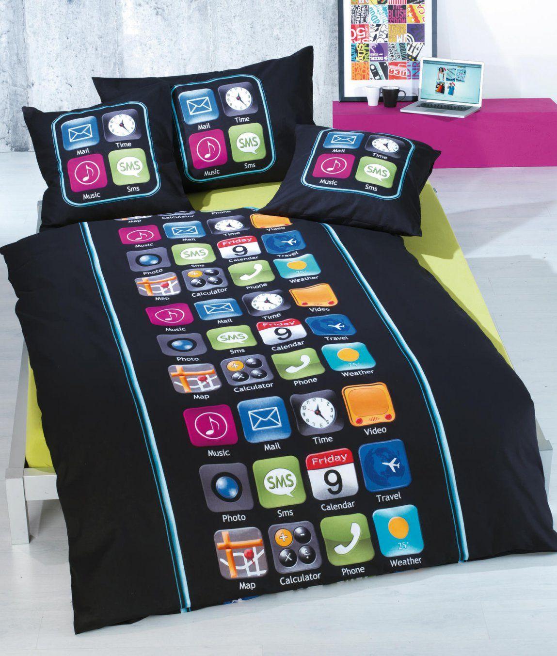 Bettwäschegarnitur My Phone Baumwolle Kaufen  Angela Bruderer von Bettwäsche Für Teenager Bild