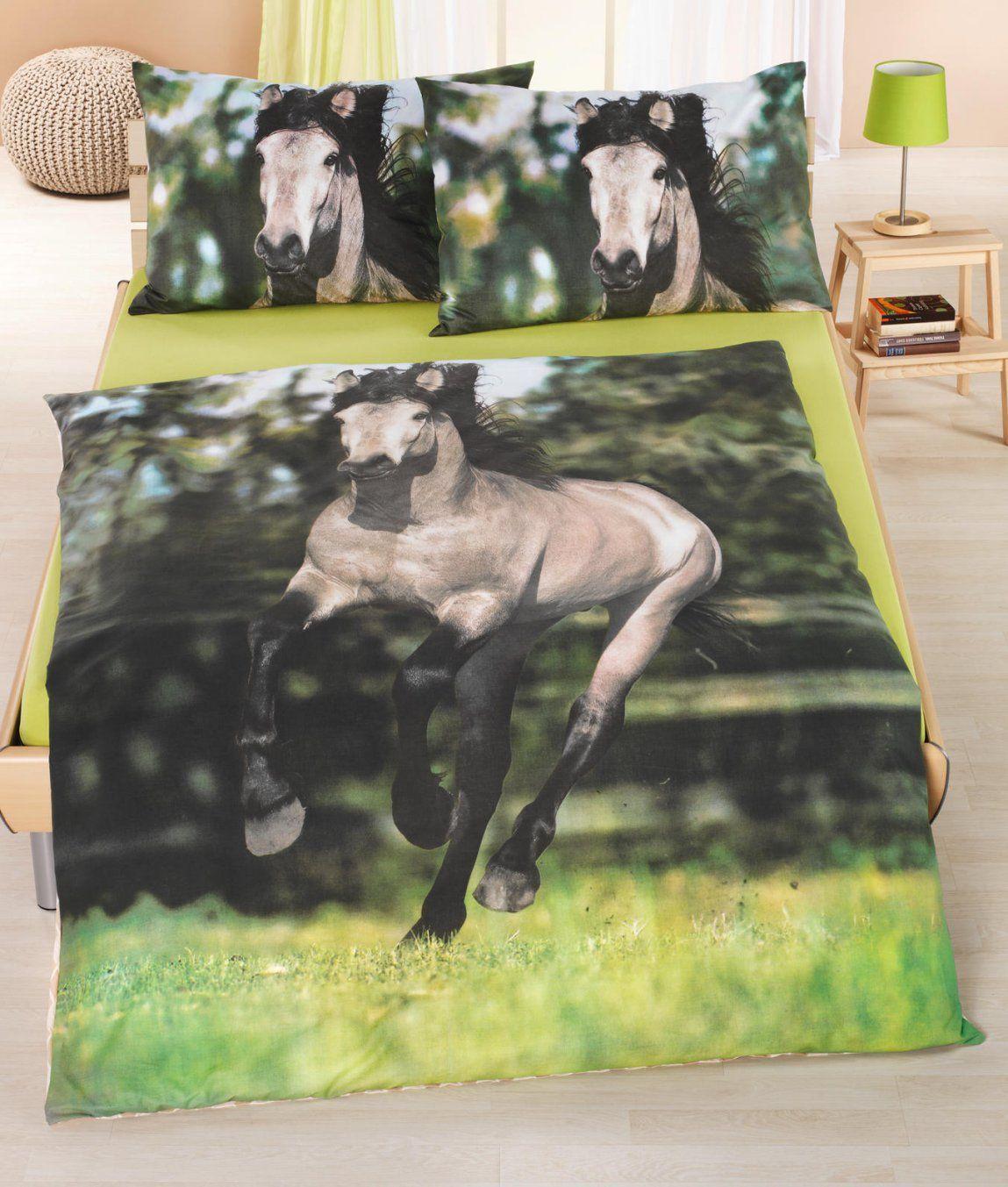Bettwäschegarnitur Pferd Baumwolle Renforcé Kaufen  Angela von Pferde Bettwäsche Baumwolle Photo