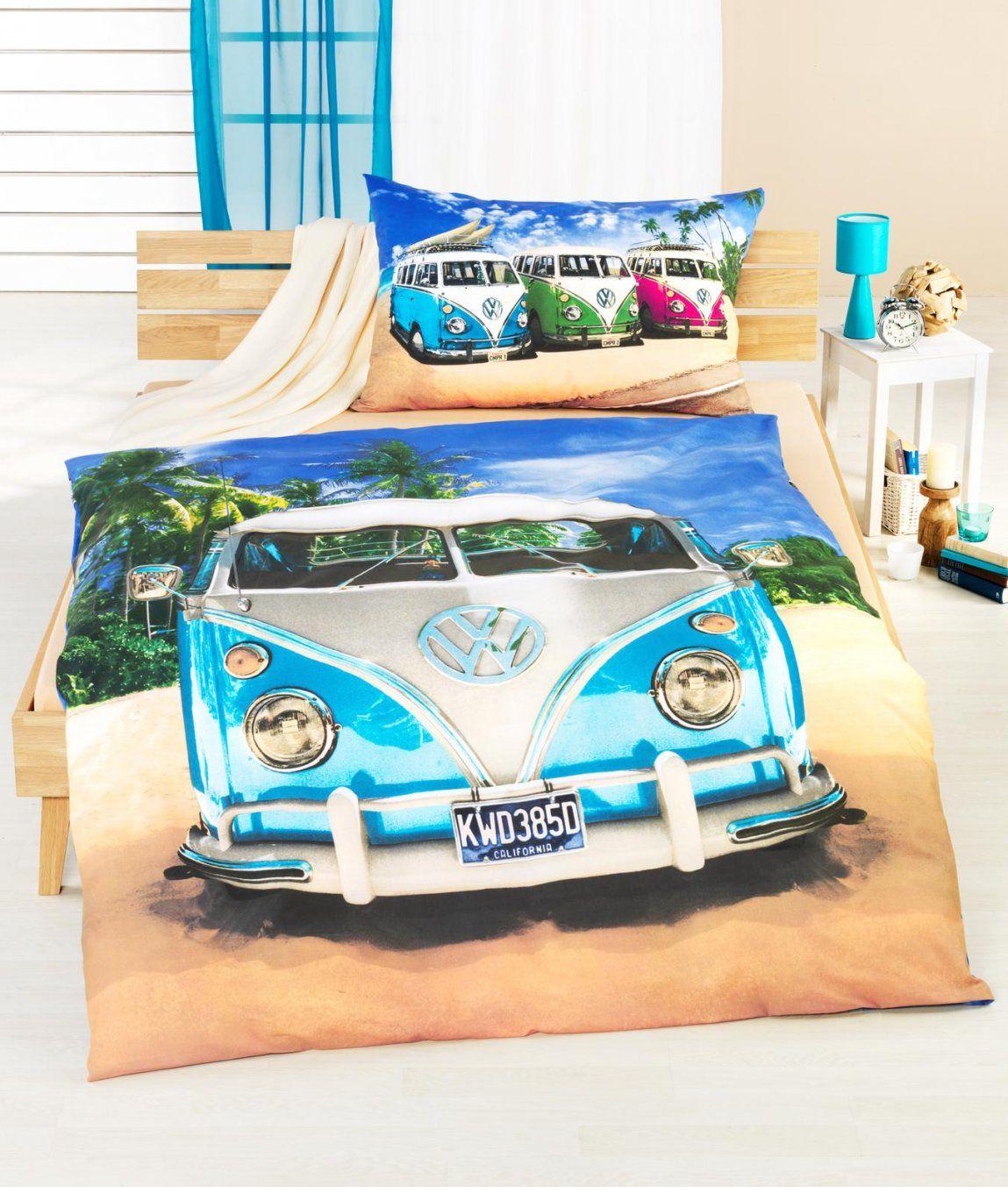 Bettwäschegarnitur Vwbus Blau Baumwolle Renforcé Kaufen  Angela von Vw Bus Bettwäsche Photo