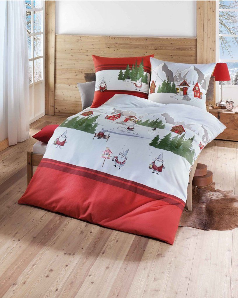Biber Bettwäsche Für Weihnachten 135X200  155X220 In Rot von Weihnachts Bettwäsche 200X200 Photo