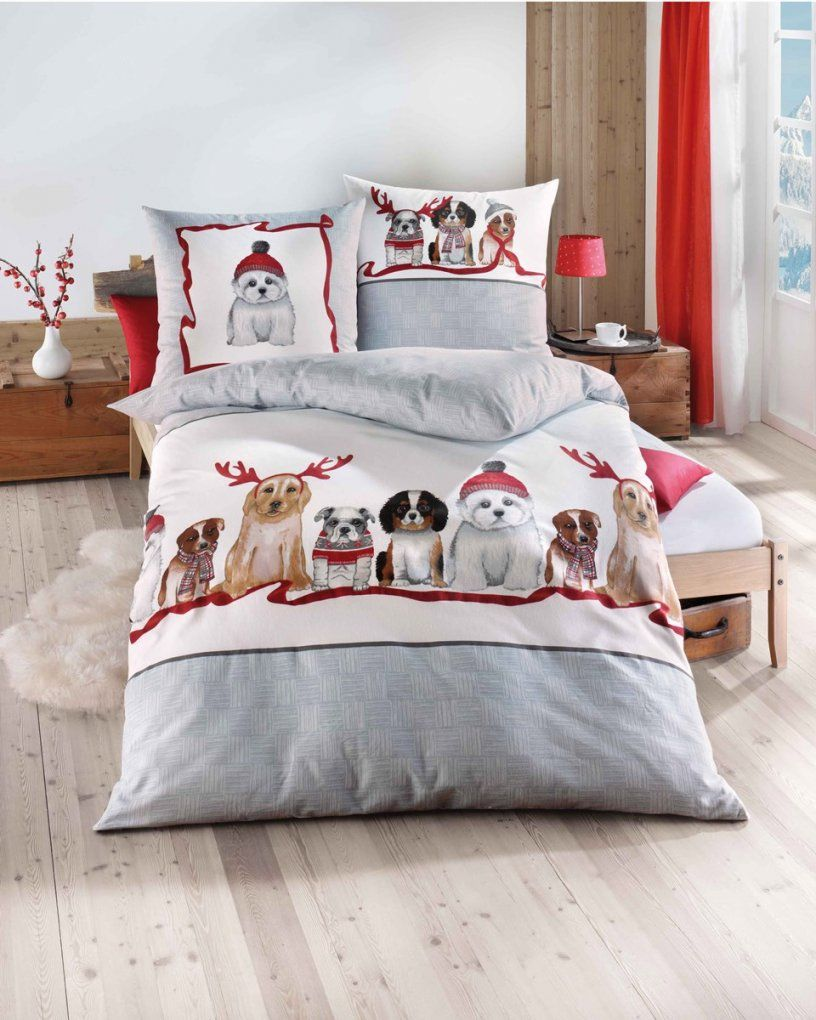 Biber Bettwäsche Weihnachten Motiv Eisbär In Grau von Biber Bettwäsche Orange Bild