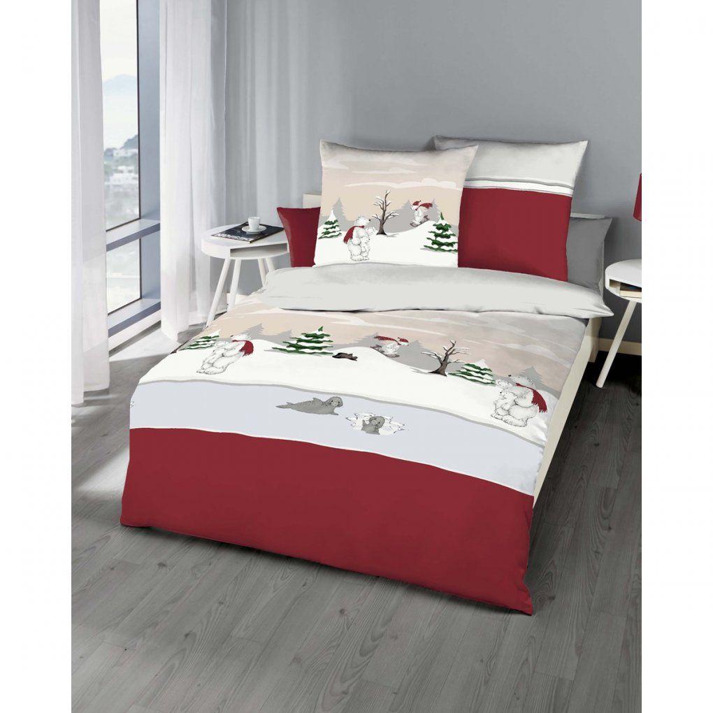 Biber Bettwäsche Weihnachten Motiv Eisbär In Rot von Bettwäsche Weihnachten Biber Bild