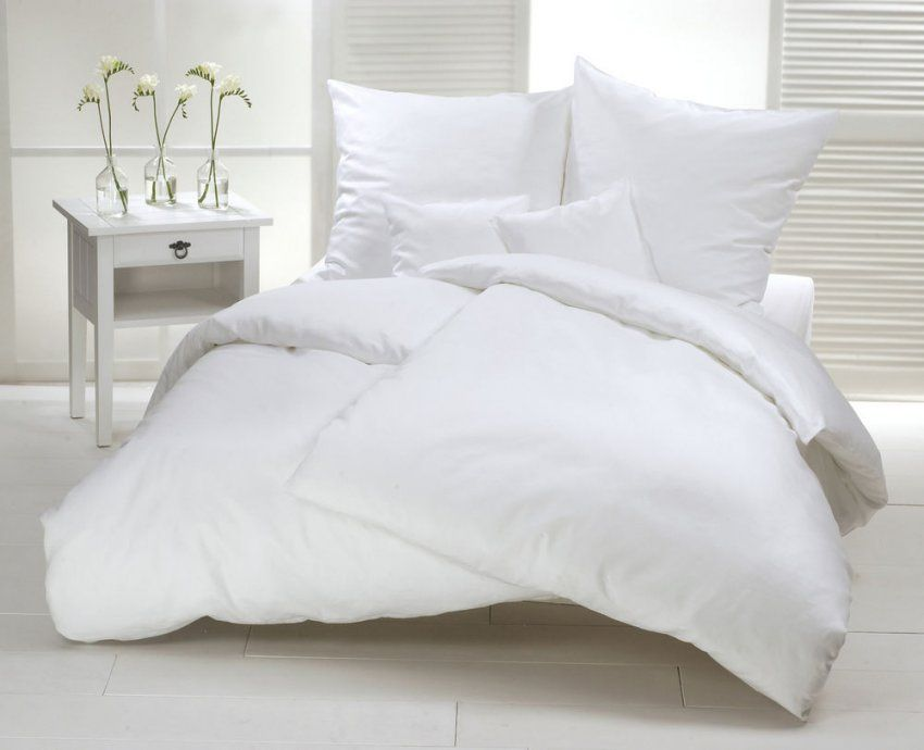 Biber Bettwäsche Weiß Uni 155X220 Cm Flanell Baumwolle Warm Winter von Biber Bettwäsche Einfarbig Photo