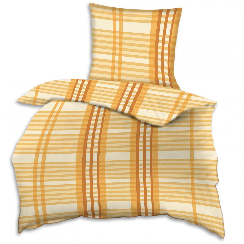 Biberbettwäsche  Orange  Karo  135X200 Cm  Bettwäsche von Biber Bettwäsche Orange Bild