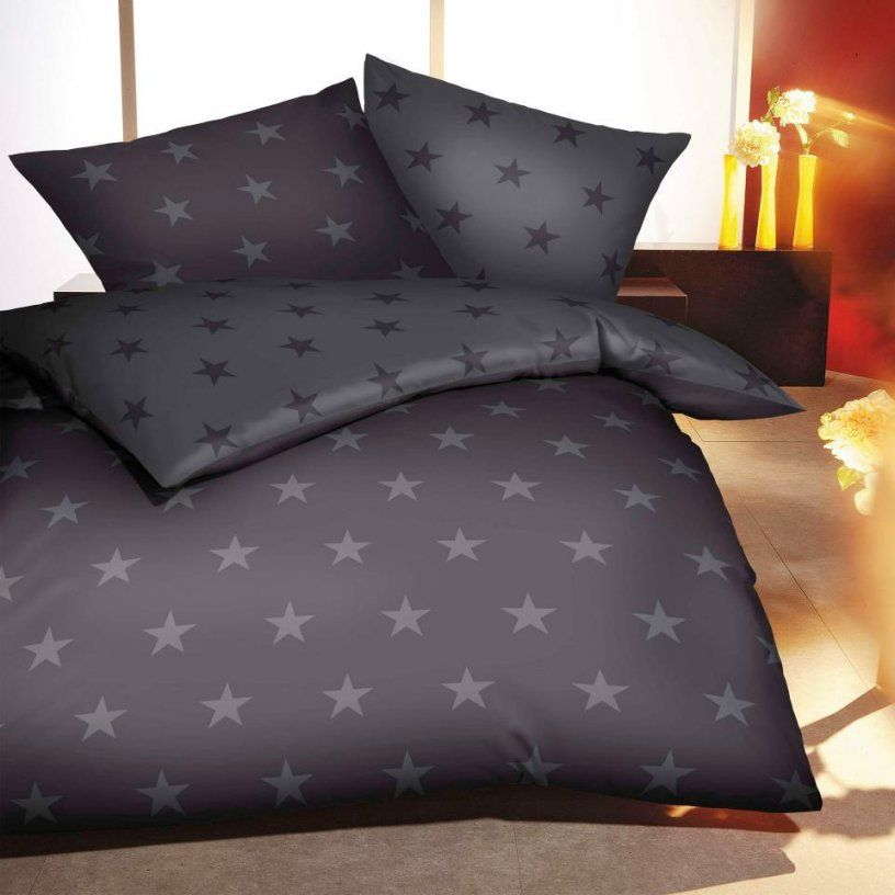 Biberbettwäsche Stars (155X220 Grauanthrazit)  Dänisches Bettenlager von Dänisches Bettenlager Bettwäsche 155X220 Photo