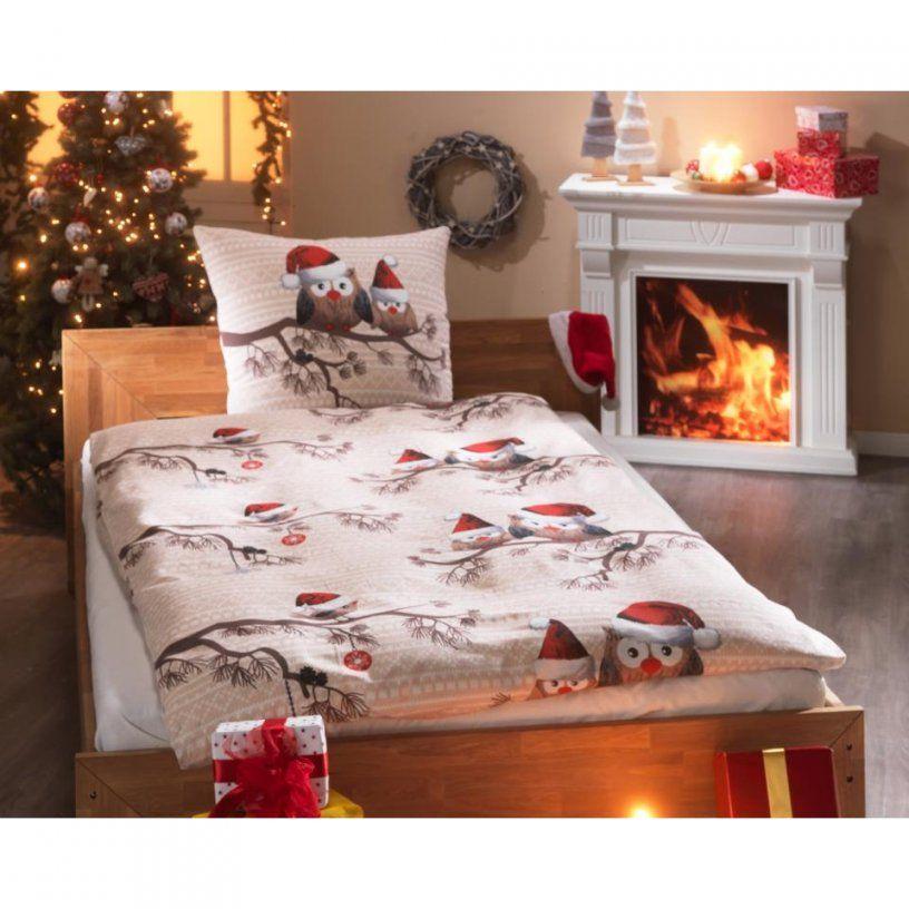 Biberbettwäsche Weihnachtseule (135X200 Natur)  Dänisches von Eulen Bettwäsche Dänisches Bettenlager Photo