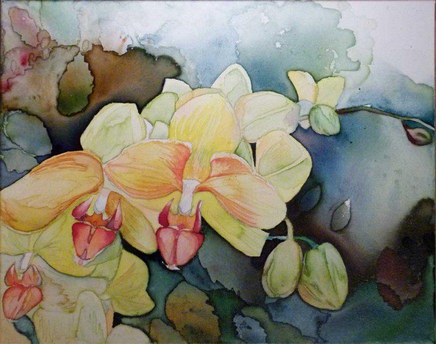 Bild Aquarell Auf Leinwand Orchidee Blumen Blüte Von Frank von Orchideen Bilder Auf Leinwand Photo