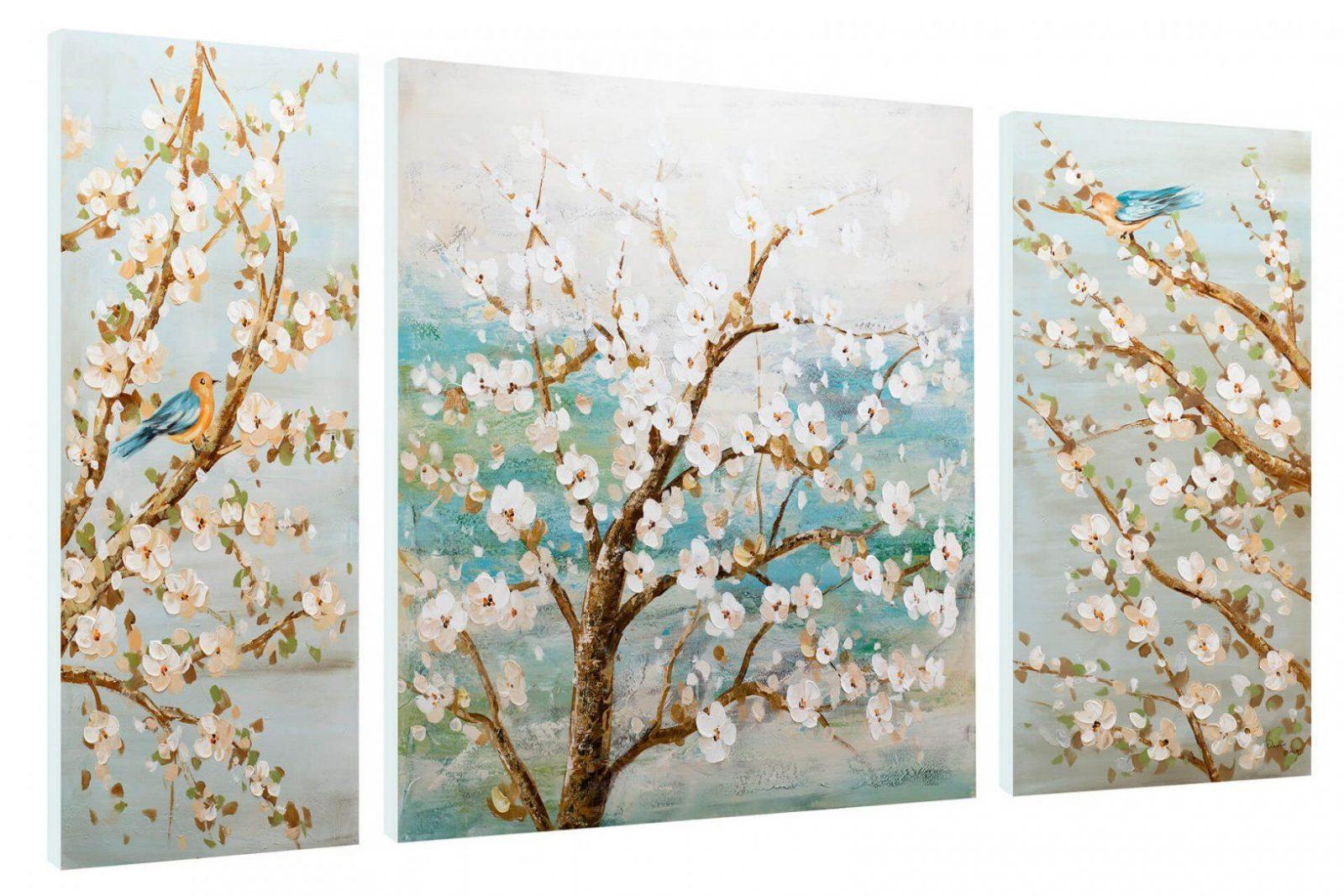 Bild Bäume Im Frühling Auf Leinwand Kaufen  Kunstloft von Leinwandbilder Selbst Gemalt Modern Bild