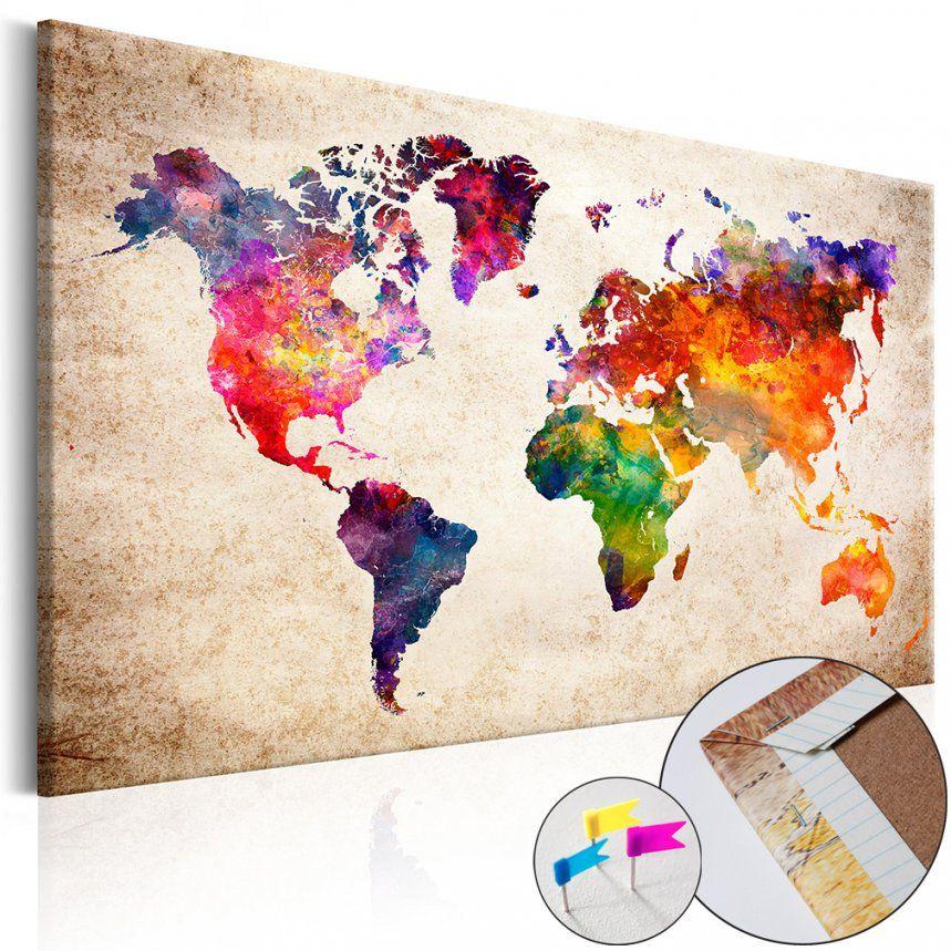 Bild Weltkarte Pinnwand Holzfaserplatte Memotafel Wandbild Aquarell von Weltkarte Pinnwand Selber Machen Photo