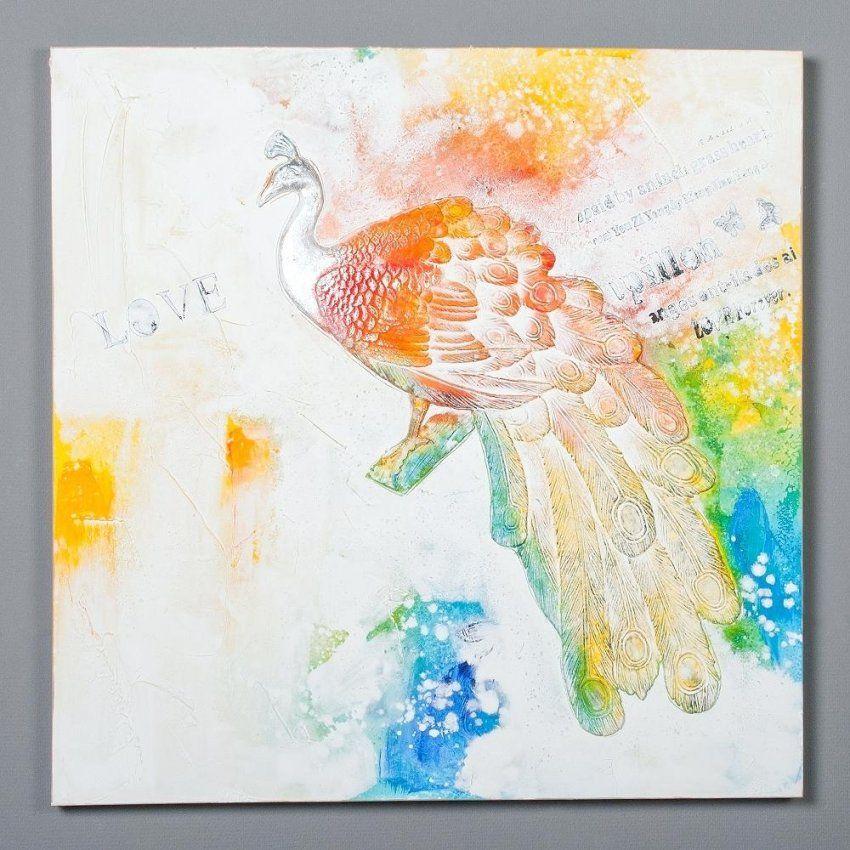 Bilder Auf Leinwand 3D Wandbild Peacock 100X100Cm Holz Keilrahmen von Moderne Bilder Selber Malen Photo