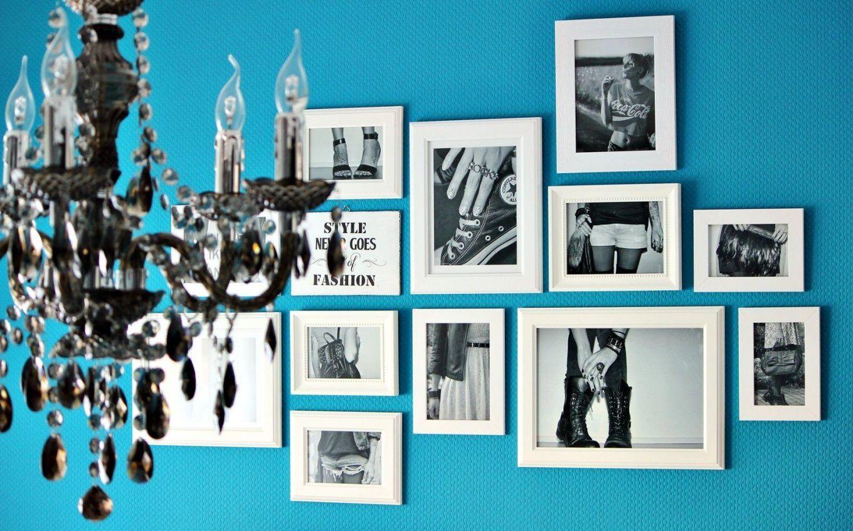 Bilderwand In Meinem Schlafzimmer Wurde Die Wand Mit Der Farbe von Schöner Wohnen Farbe Lagune Bild