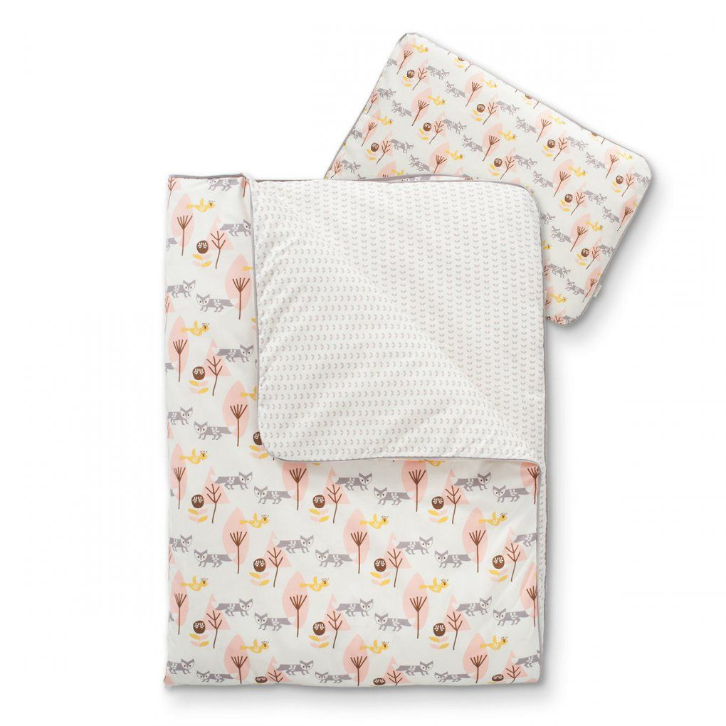 Bio Babybettwäsche Mit Füchsen In Rosa Jetzt Online Bestellen von Kinderbettwäsche 100X135 Bio Bild