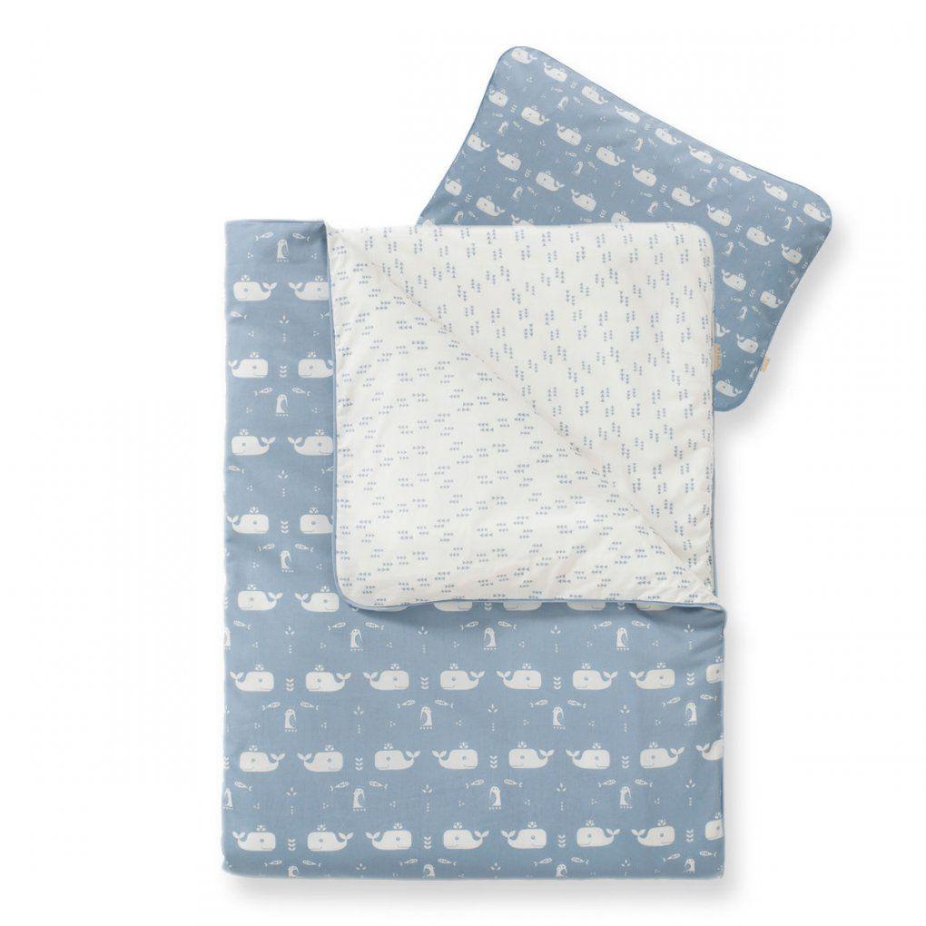 Bio Babybettwäsche Mit Wal In Blau (100X135Cm)  Jetzt Online Kaufen von Baby Bettwäsche Junge Bild