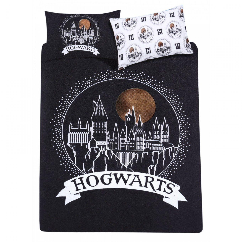 Black Double Reversible Duvet Cover + 2 Pillowcases Bedding Set von Harry Potter Bettwäsche Primark Photo