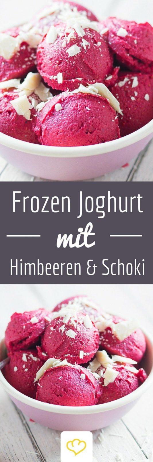 Blitzfrozenjoghurt Mit Himbeeren Und Weißer Schokolade  Recipe von Frozen Joghurt Selber Machen Thermomix Bild