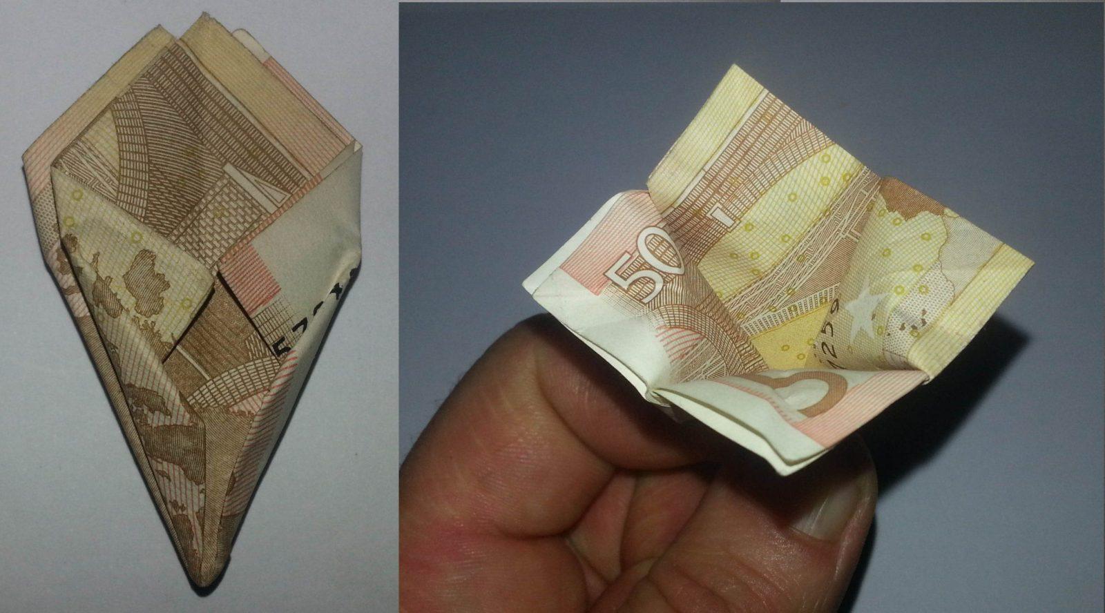 Blume Aus Einem Geldschein Falten  Origami Mit Geldscheinen von Origami Rose Geldschein Anleitung Bild
