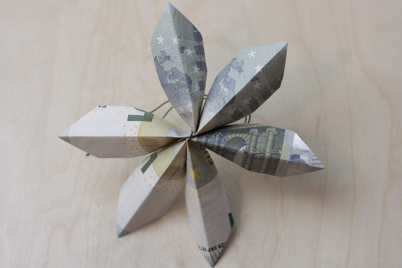 Blume  Faltanleitung von Geldscheine Falten Blume Mit Einem Schein Photo