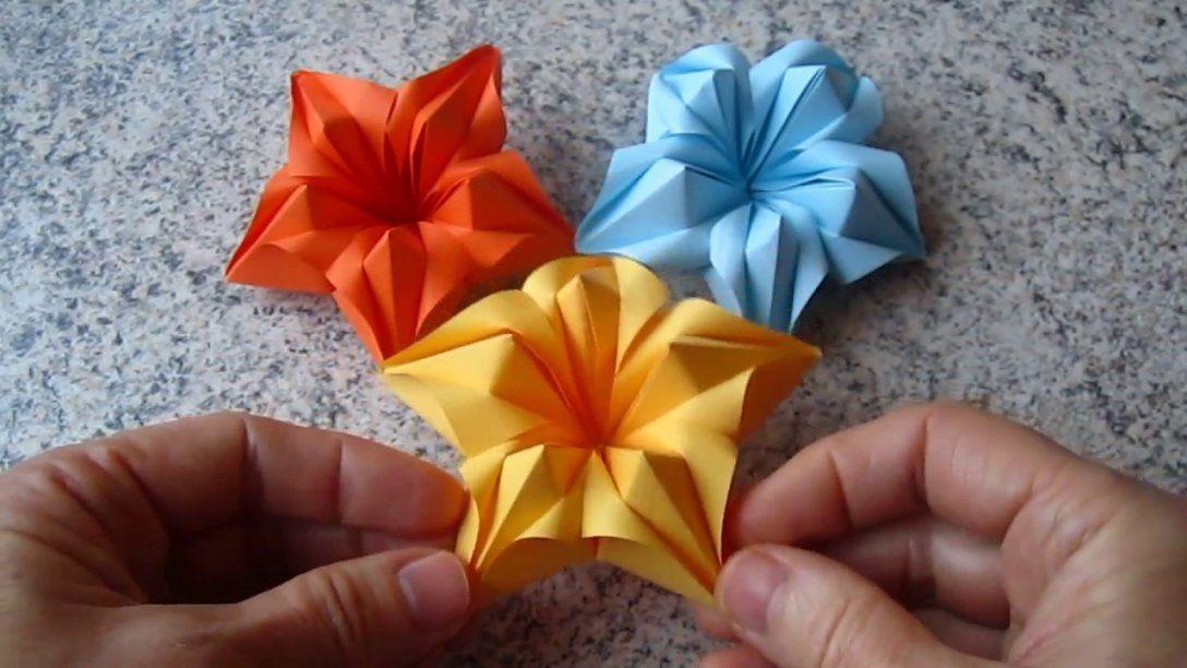 Blumen Aus Papier  Notizzettel Selber Falten  Youtube von Blume Aus Papier Falten Anleitung Bild
