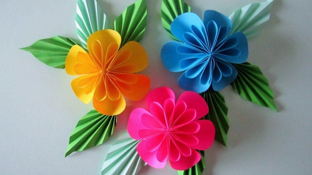 Blumen Aus Papiernotizzettel Diy  Youtube von Blume Aus Papier Falten Anleitung Bild