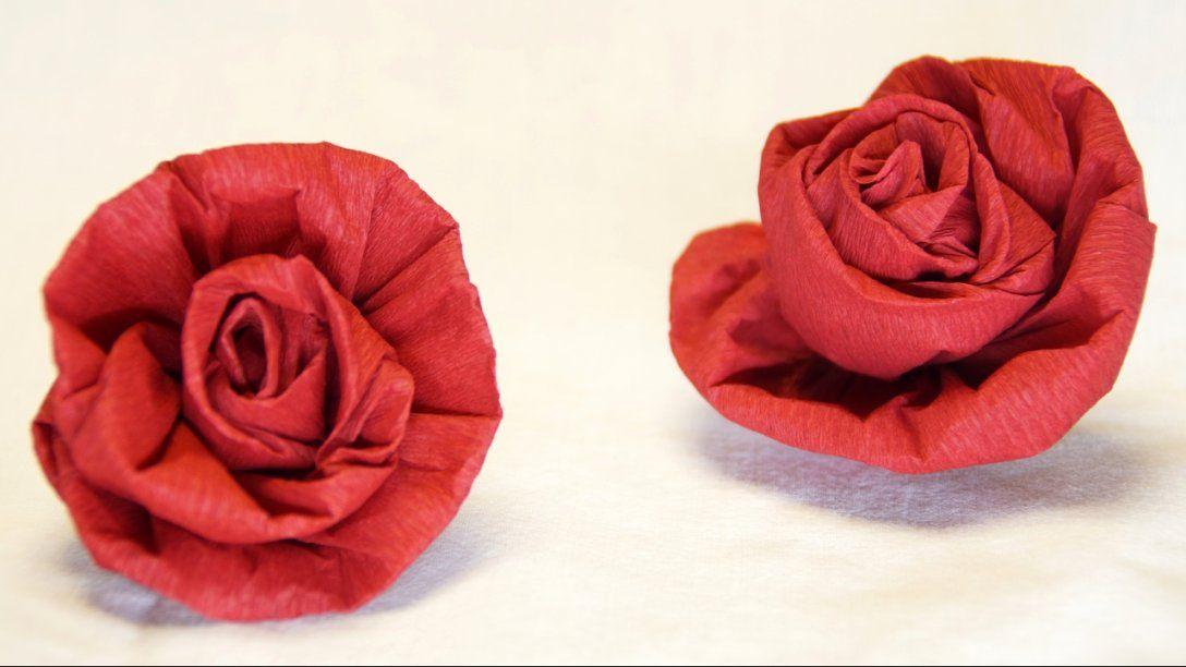 Blumen Basteln Rose Aus Krepppapier Feinkrepp Basteln How To von Rose Basteln Papier Anleitung Photo