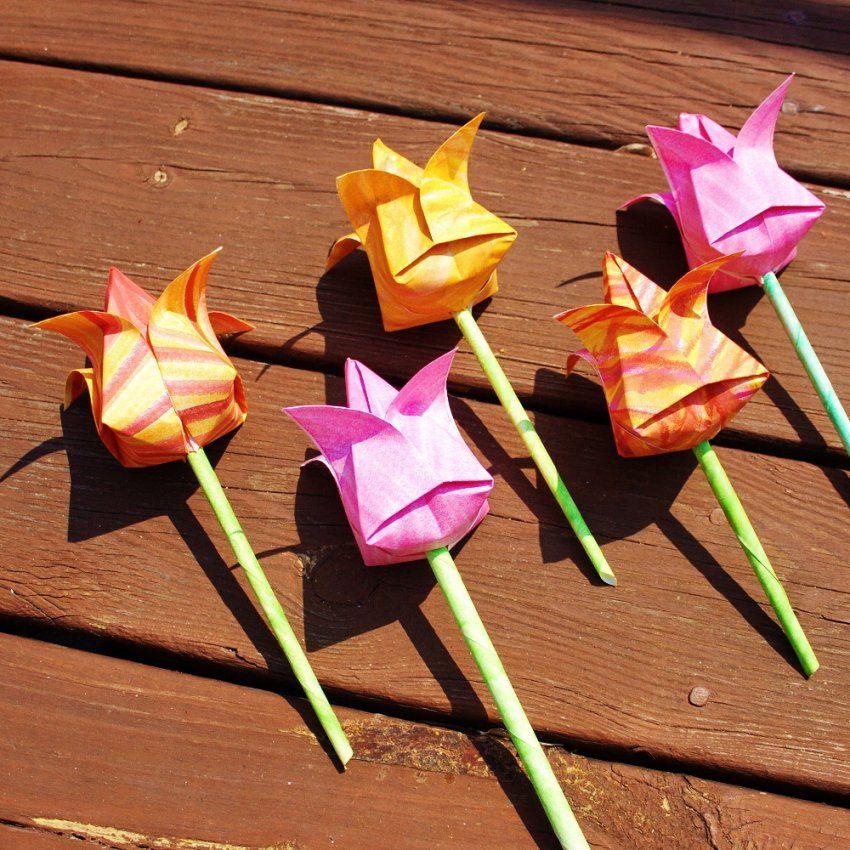 Blumen Falten Aus Papier Origamianleitungen Für Rosen Lilien von Blume Aus Papier Falten Anleitung Photo