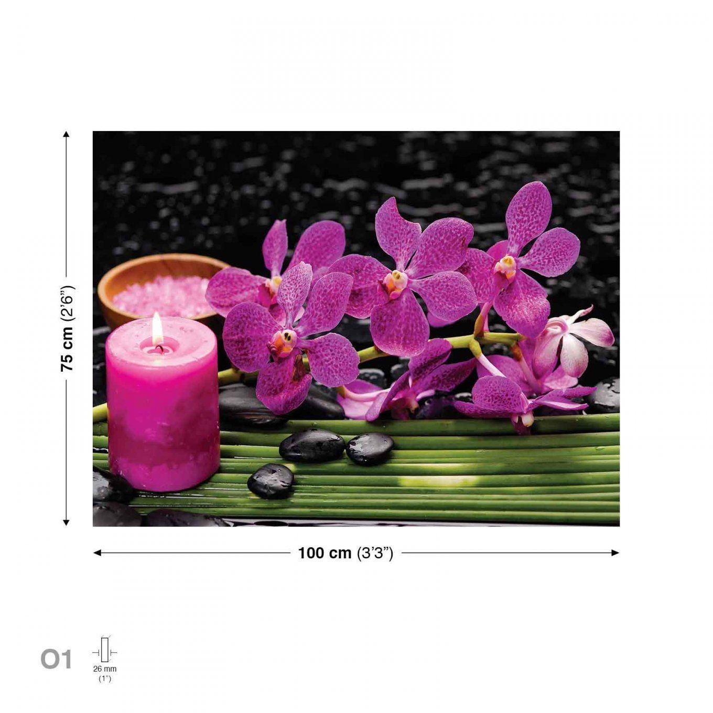 Blumen Orchideen Kerze Steine Rosa Leinwand Bilder Xxl Bild von Orchideen Bilder Auf Leinwand Bild