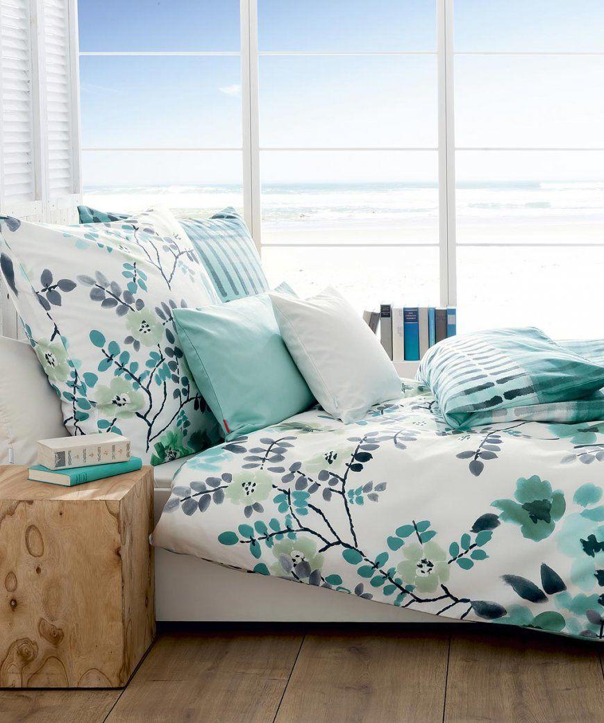 Blumige Bettwäsche In Aqua Blau Von Fleuresse Modern Garden 200X200 von Bettwäsche 200X220 Günstig Bild