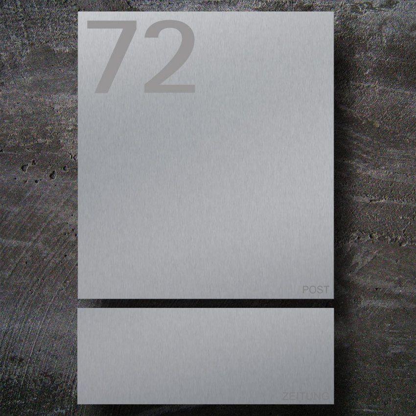 Briefkasten Zeitungsfach Edelstahl B1 Number  Zed von Briefkasten Edelstahl Mit Hausnummer Bild