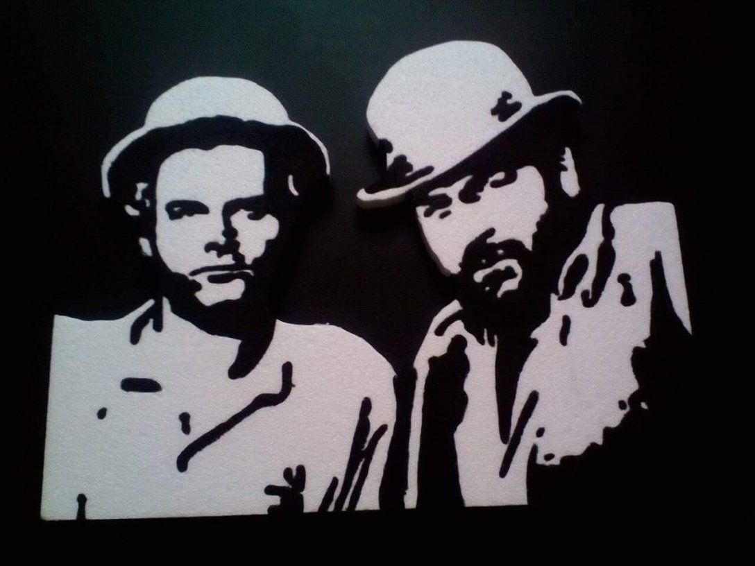 Bud Spencer Terence Hill Tribute Stencil Hungarocell Szekesfehervar von Bud Spencer Schwarz Weiß Photo