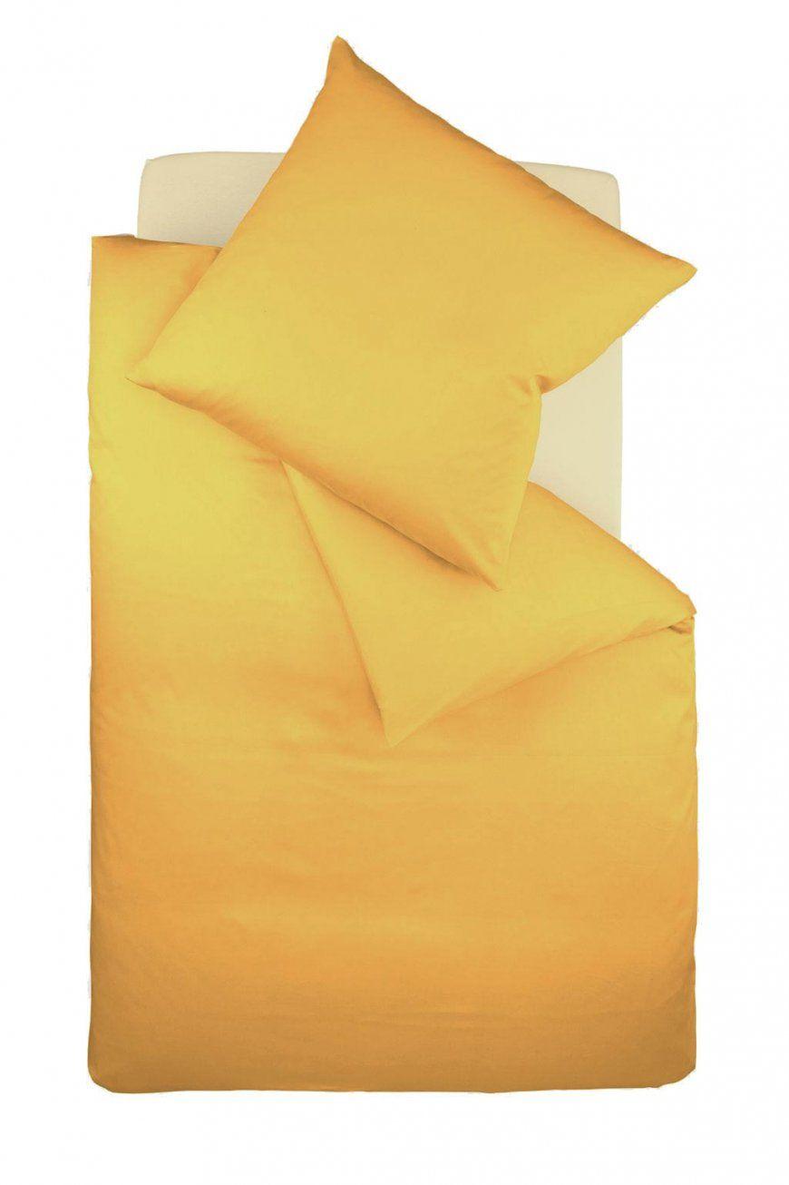Bügelfreie Jerseybettwäsche Fleuresse Uni  Sonne Gelb  Jersey von Biber Bettwäsche Gelb Bild
