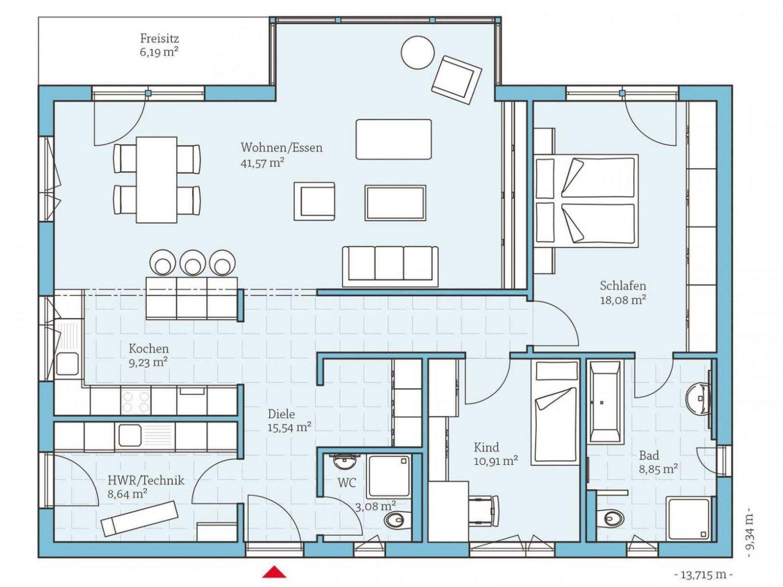 Bungalow Bauen Häuser Anbieter & Preise Vergleichen von Grundriss Bungalow 120 Qm Mit Garage Bild