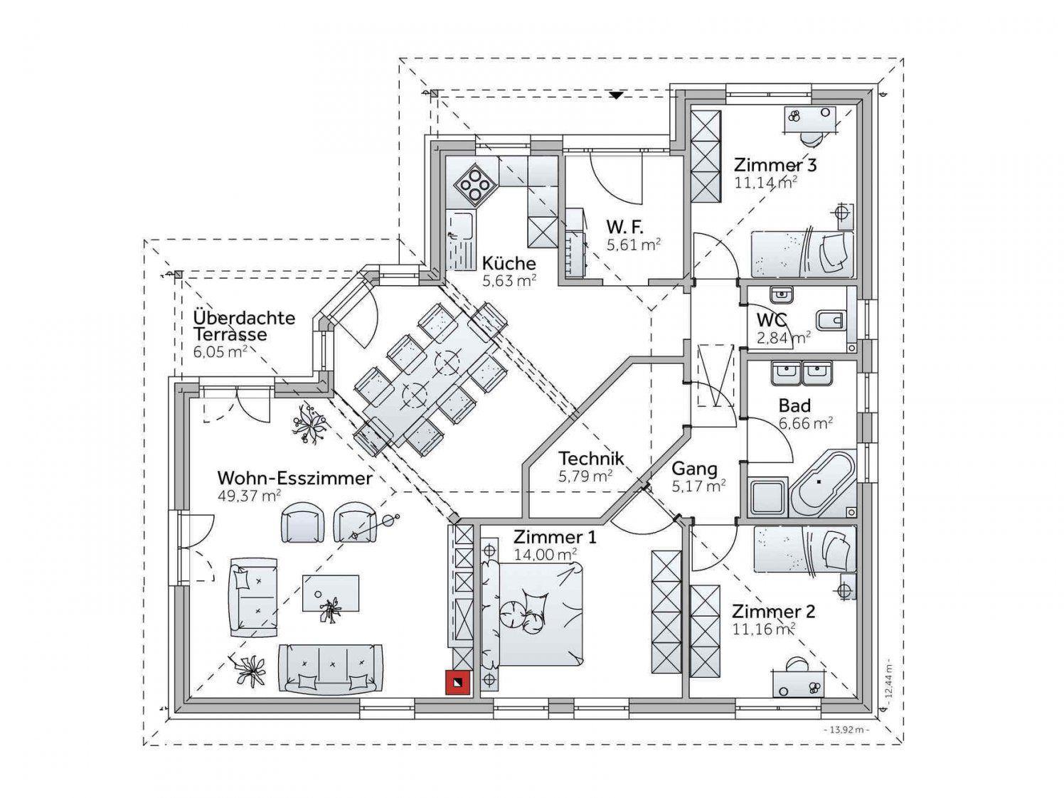 bungalow mit individuellem bungalow grundriss gestalten variohaus von bungalow l form grundriss. Black Bedroom Furniture Sets. Home Design Ideas