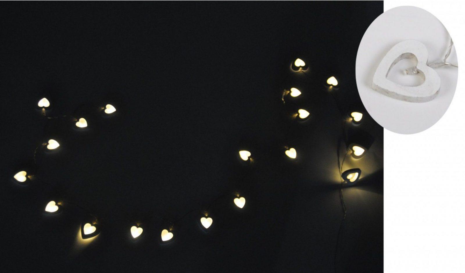 Bware 20 Led Herzenlichterkette Holz Deko Batterie Leuchtkette von Bilder Beleuchtung Mit Batterie Photo