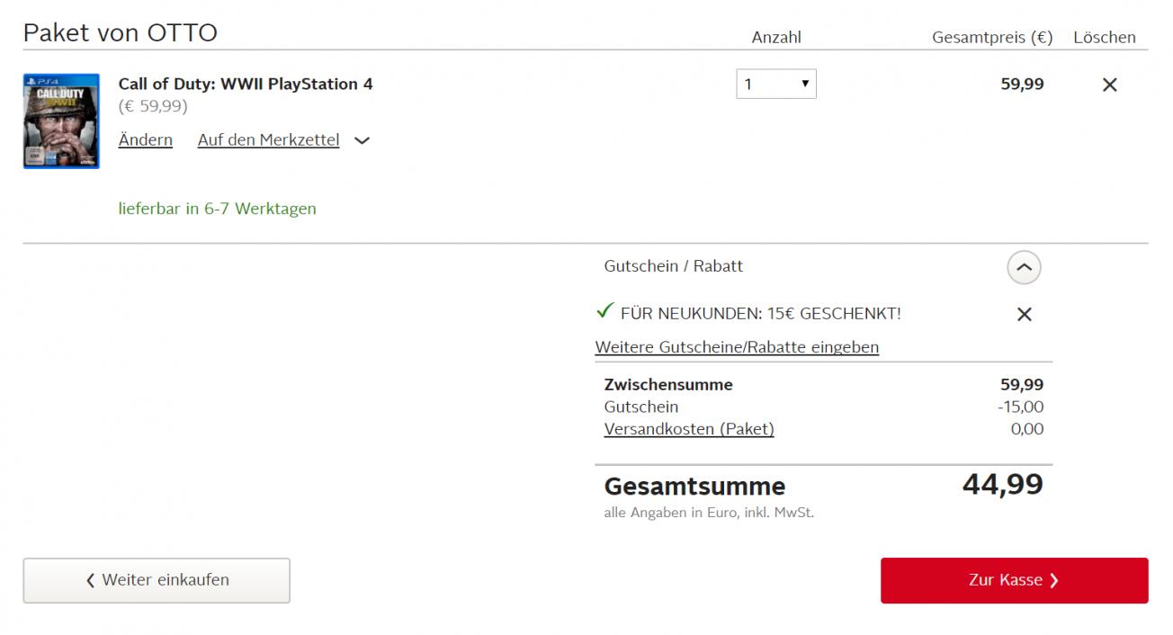Call Of Duty Wwii Bei Otto Mit Nkgutschein Für 4499€ Gratisversand von 15 Euro Gutschein Otto Bild