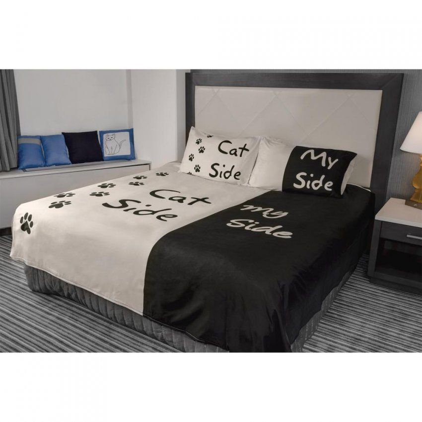 Cat Side Duvet Cover & Pillow Case Set  The Animal Rescue Site von His Side Her Side Bettwäsche Photo