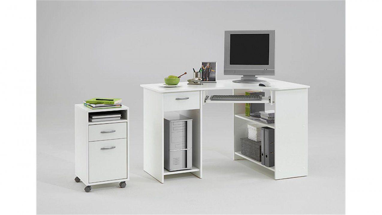 Computertisch Felix 1 Eck Schreibtisch Pc Tisch In Weiß von Pc Tisch Weiss Hochglanz Bild