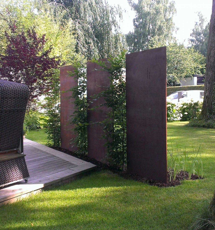 Cortenstahl Patinax Trennwand Garten  Fröbel Metallbau von Cortenstahl Sichtschutz Für Garten Photo