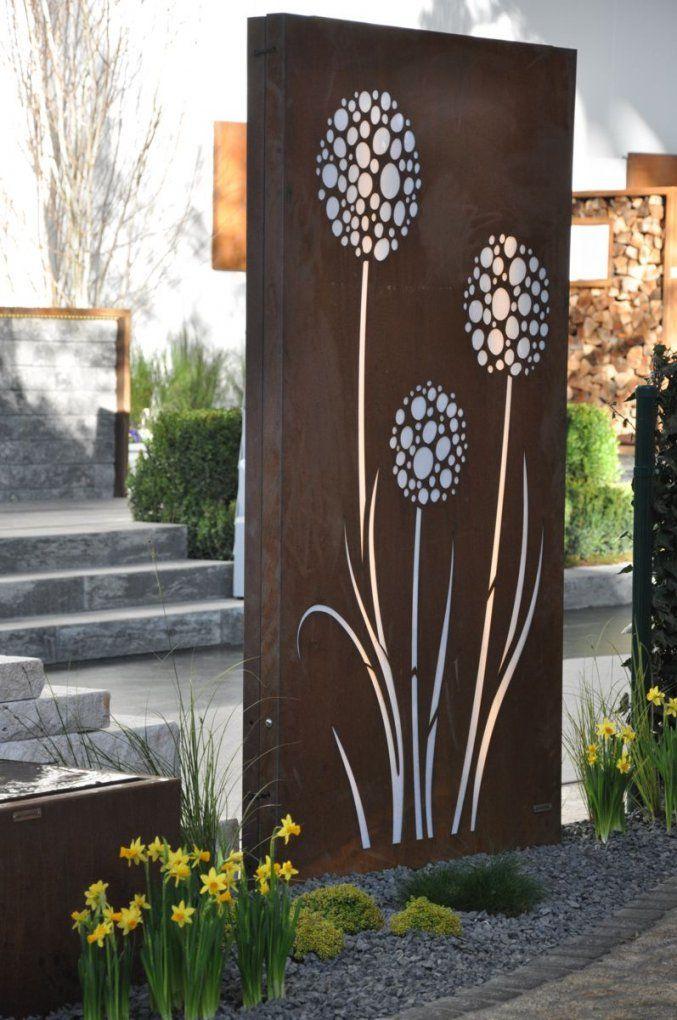 Cortenstahl Sichtschutz Vista 180 X 100 Cm Beleuchtet Mit Motiv von Cortenstahl Sichtschutz Für Garten Photo