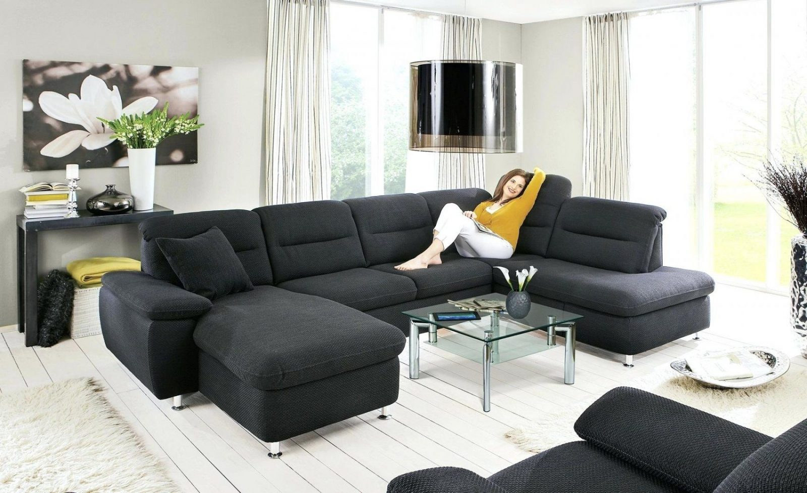 Couch Anthrazit Brooke Sofa Anthrazitwandfarbe Wohnzimmer Xxl von Anthrazit Couch Wohnzimmer Farbe Photo
