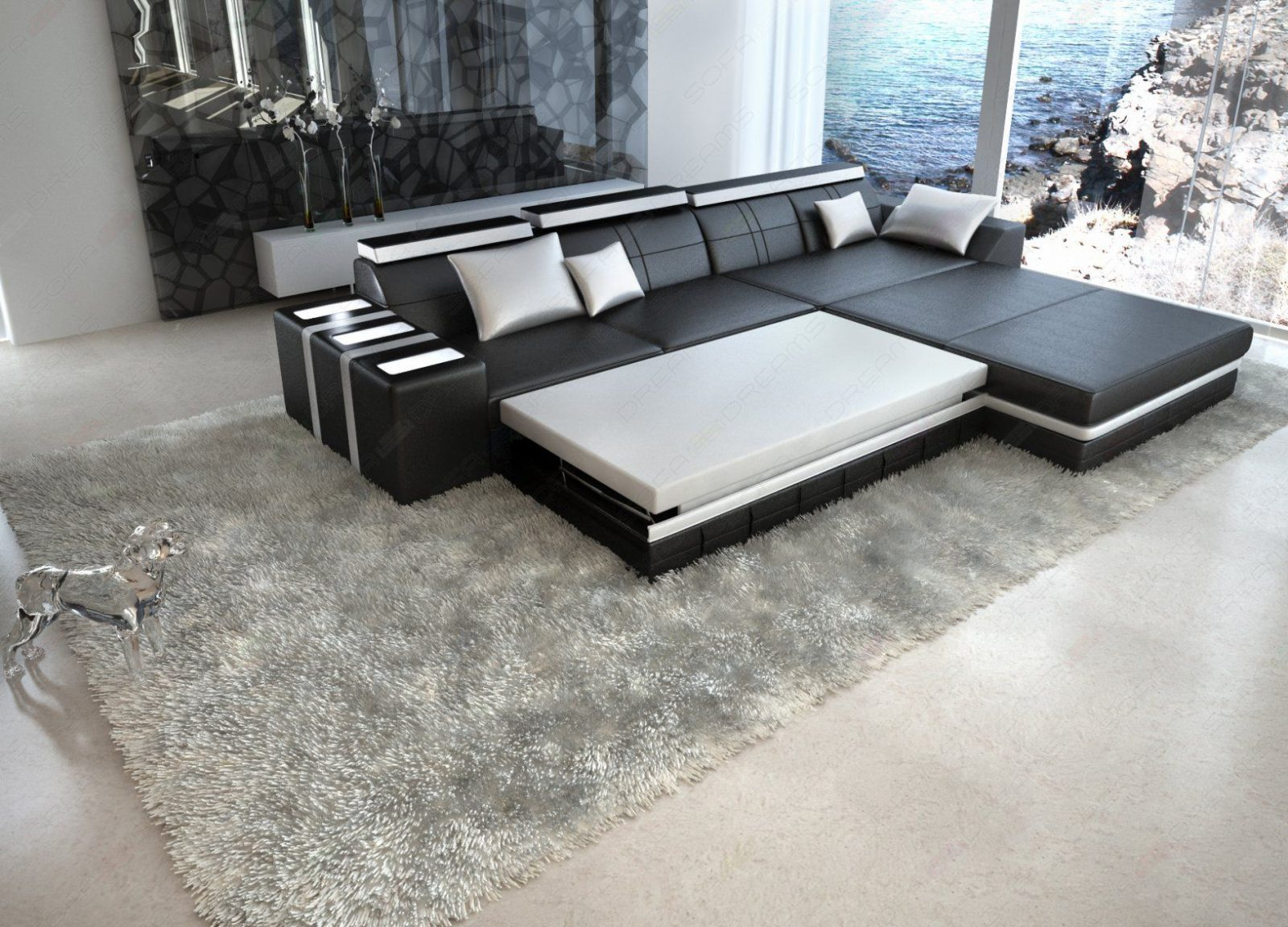 couch l form sofa mit schlaffunktion poco meter braun. Black Bedroom Furniture Sets. Home Design Ideas