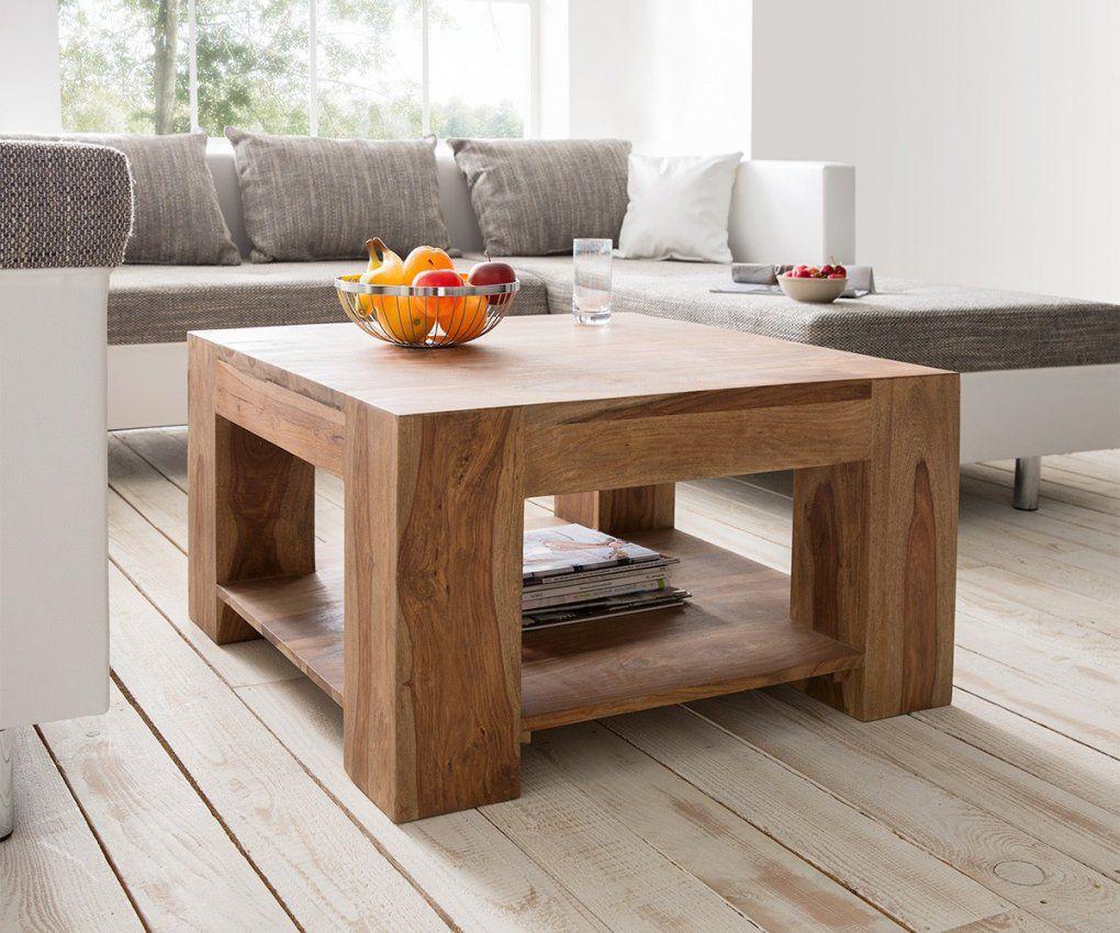Couchtisch Blokk 80X80 Cm Sheesham Natur Ablage Massiv Möbel Tische von Couchtisch Eiche Massiv 80X80 Bild