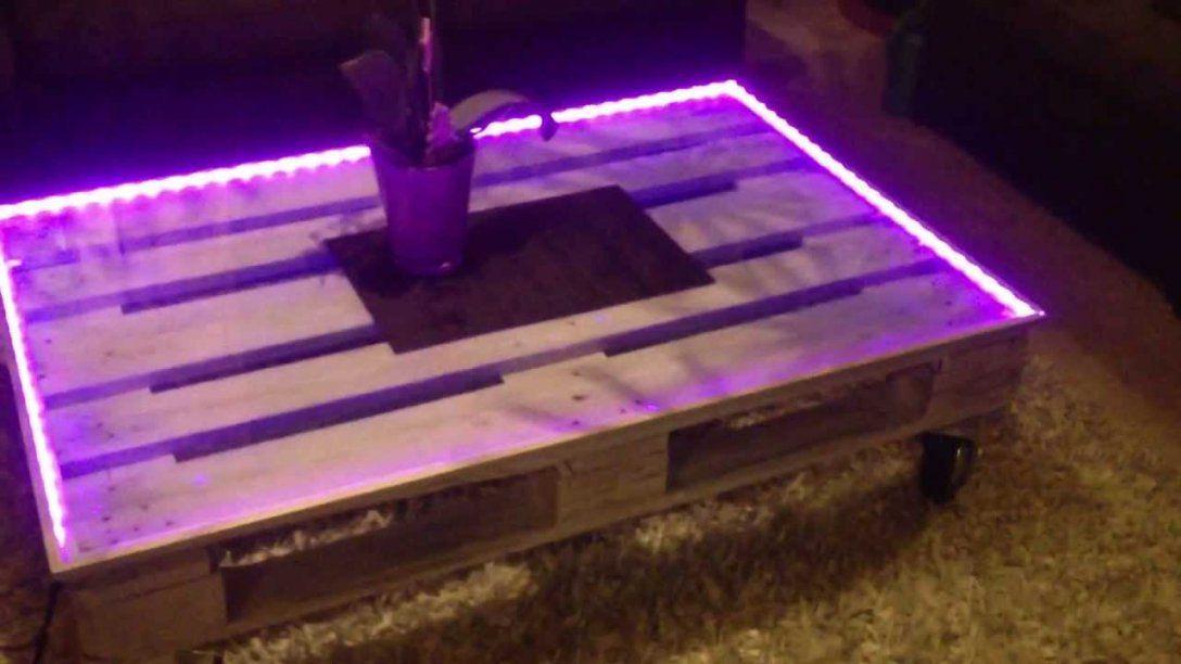 Couchtisch Palettentisch Designer Tisch Leuchtet Mittels Led von Couchtisch Aus Europaletten Mit Glasplatte Photo