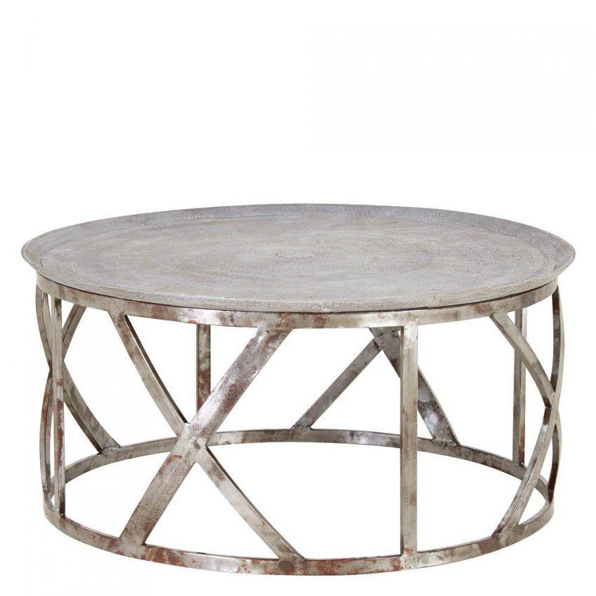 Couchtisch Rund 92Cm Metall Tischplatte Alu Sandguß Gestell Eisen von Couchtisch Aluminium Rund Bild